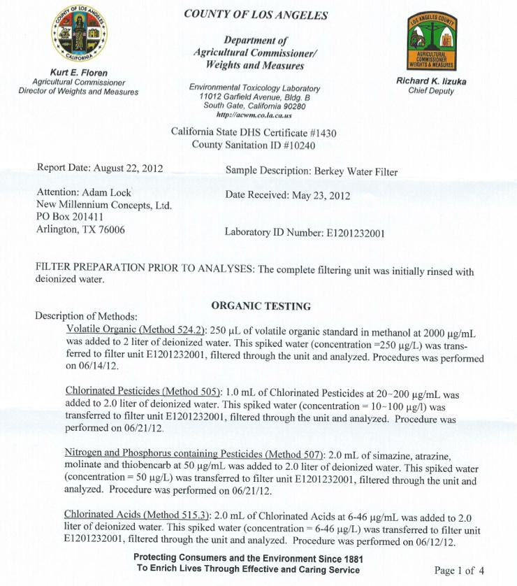 Organic Los Angeles Test Results page 1
