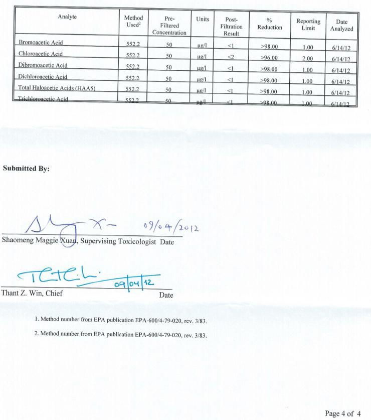 Organic Los Angeles Test Results page 4